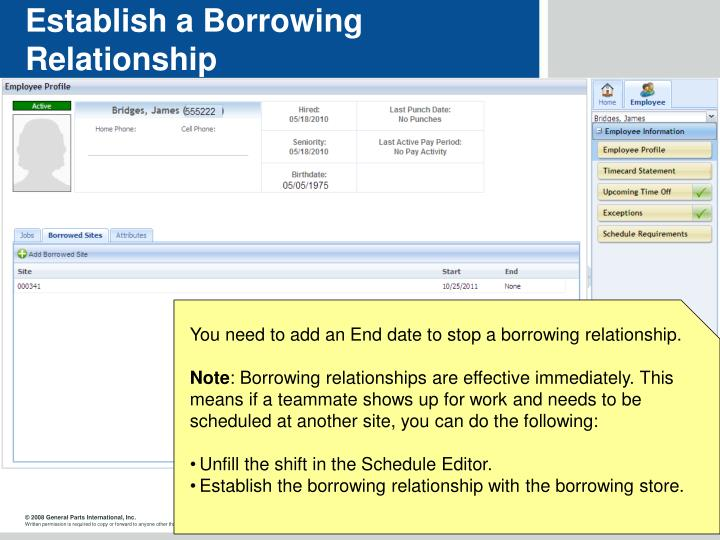 Establish a Borrowing Relationship