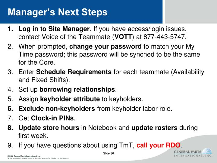Manager's Next Steps