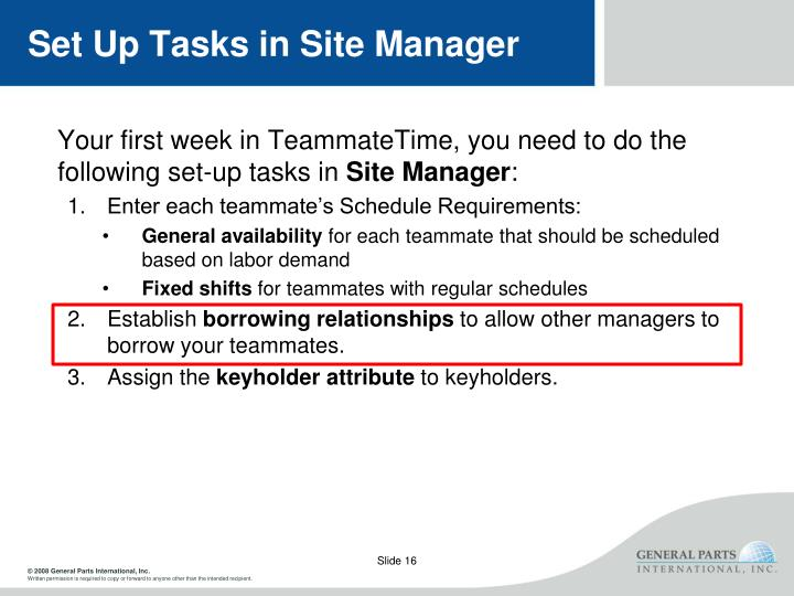 Set Up Tasks in Site Manager