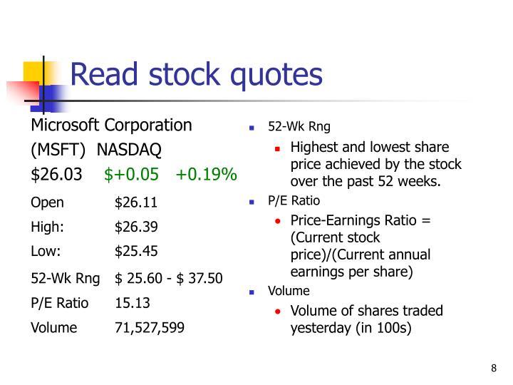 Read stock quotes
