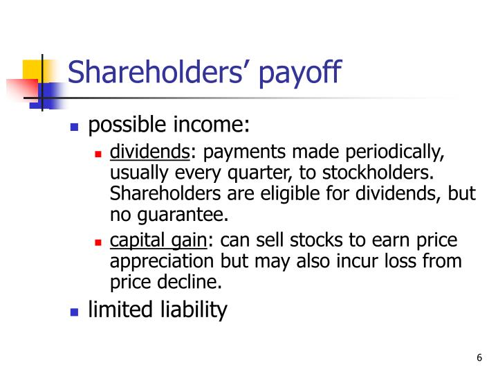 Shareholders' payoff