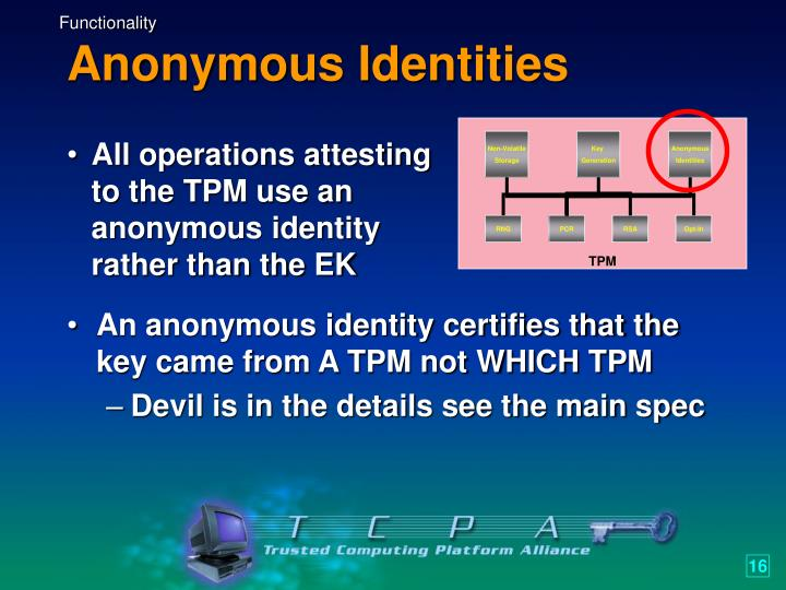 All operations attesting to the TPM use an anonymous identity rather than the EK