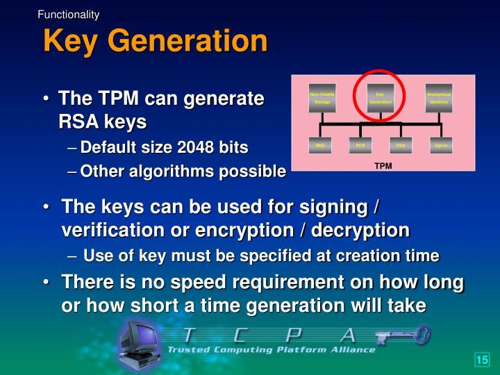 The TPM can generate RSA keys