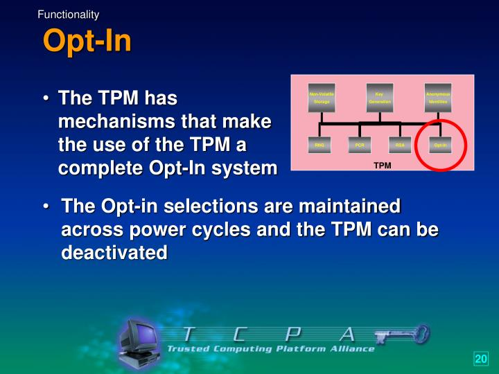 The TPM has mechanisms that make the use of the TPM a complete Opt-In system