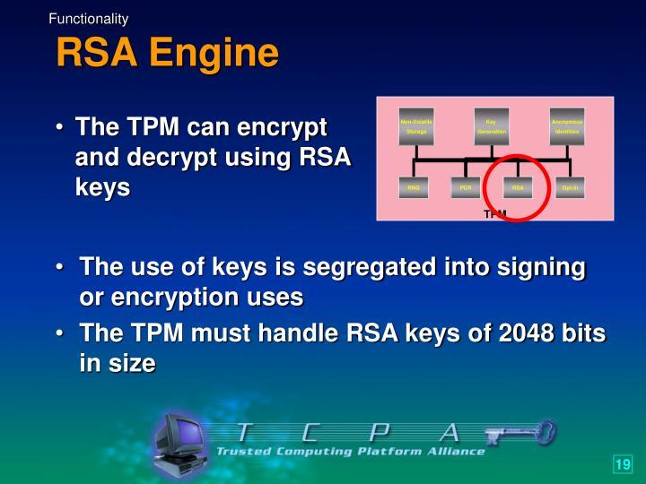 The TPM can encrypt and decrypt using RSA keys