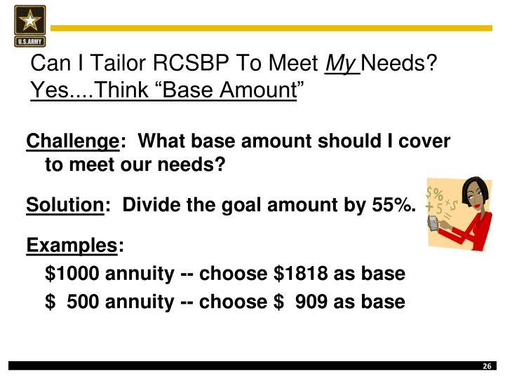 Can I Tailor RCSBP To Meet