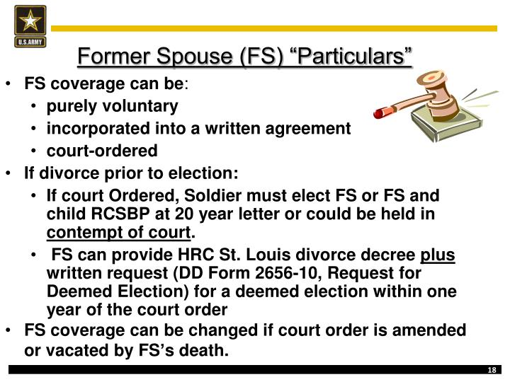 """Former Spouse (FS) """"Particulars"""""""