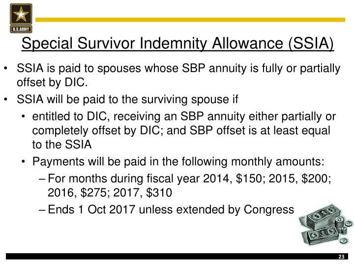Special Survivor Indemnity Allowance (SSIA)