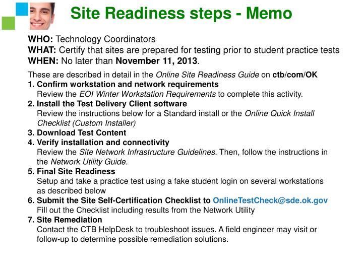 Site Readiness steps - Memo