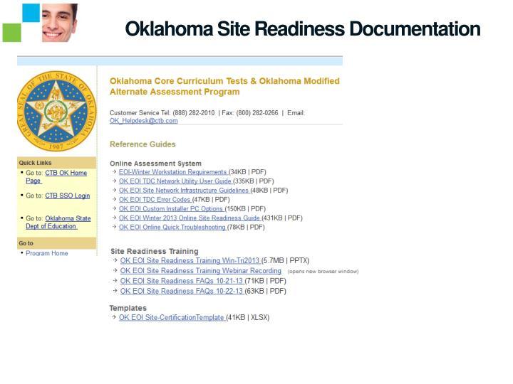 Oklahoma Site Readiness Documentation