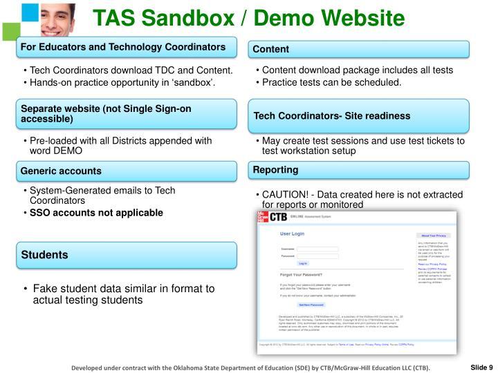 TAS Sandbox / Demo Website