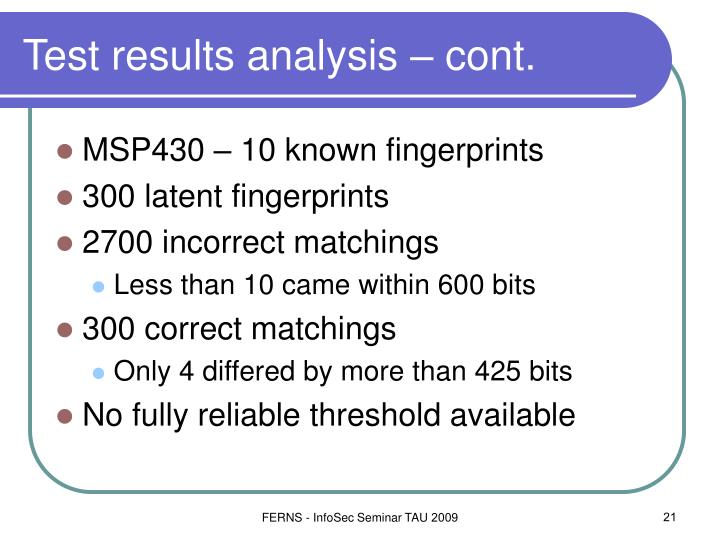 Test results analysis – cont.