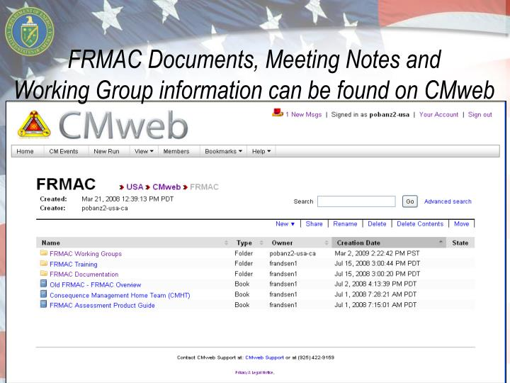 FRMAC Documents, Meeting Notes and