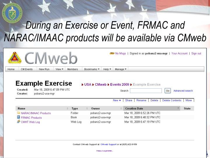 During an Exercise or Event, FRMAC and NARAC/IMAAC products will be available via CMweb