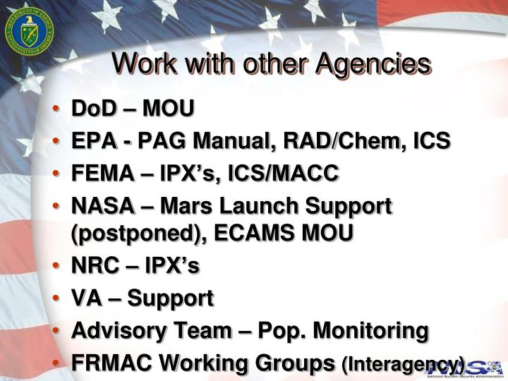 Work with other Agencies