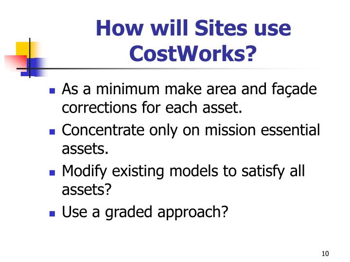 How will Sites use CostWorks?