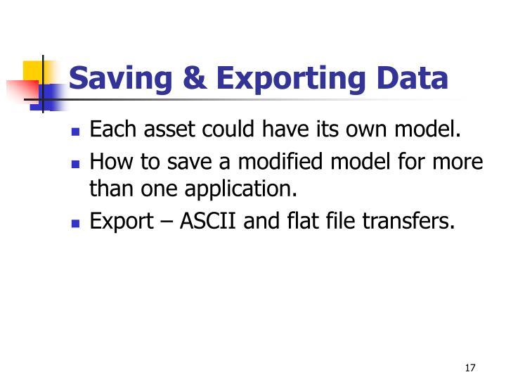 Saving & Exporting Data