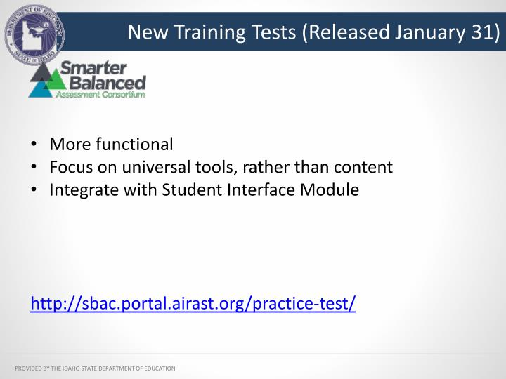 New Training Tests (Released January 31)