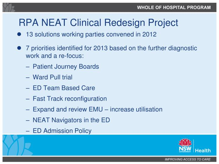 RPA NEAT Clinical Redesign Project