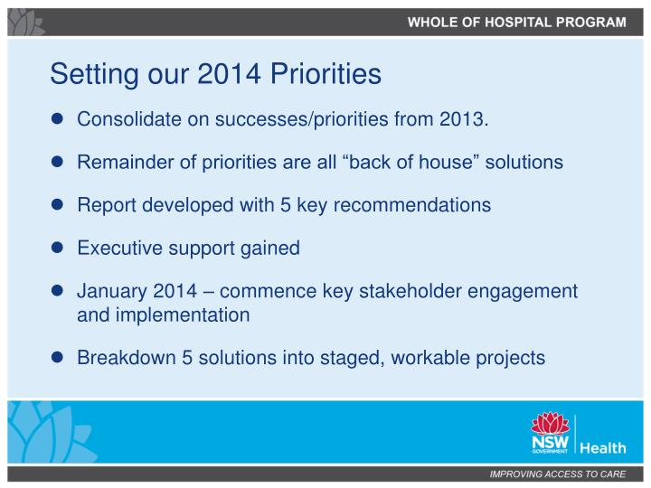 Setting our 2014 Priorities