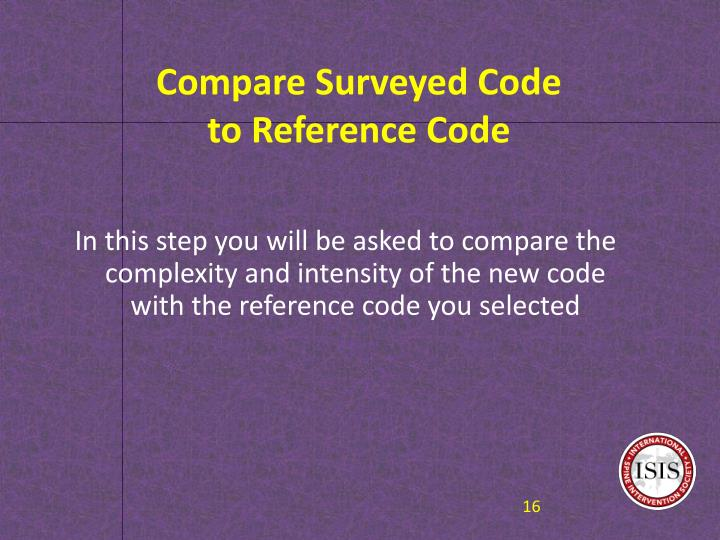 Compare Surveyed Code