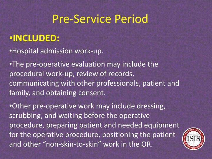 Pre-Service Period