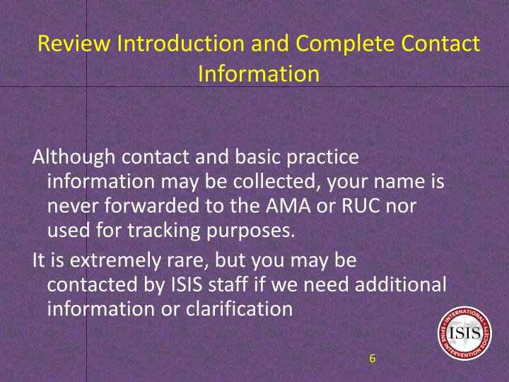 Review Introduction and Complete Contact Information