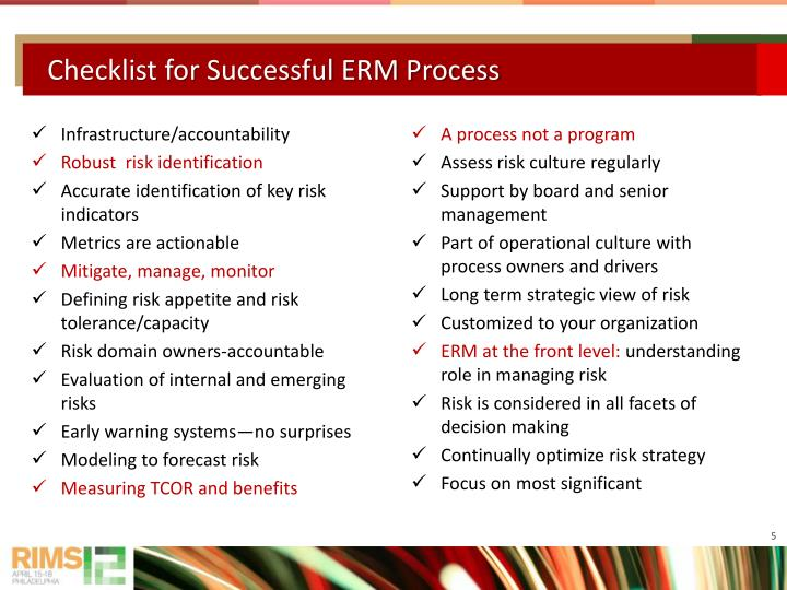 Checklist for Successful ERM Process