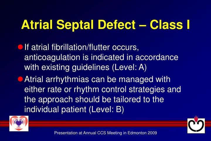 Atrial Septal Defect – Class I