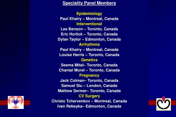 Speciality Panel Members