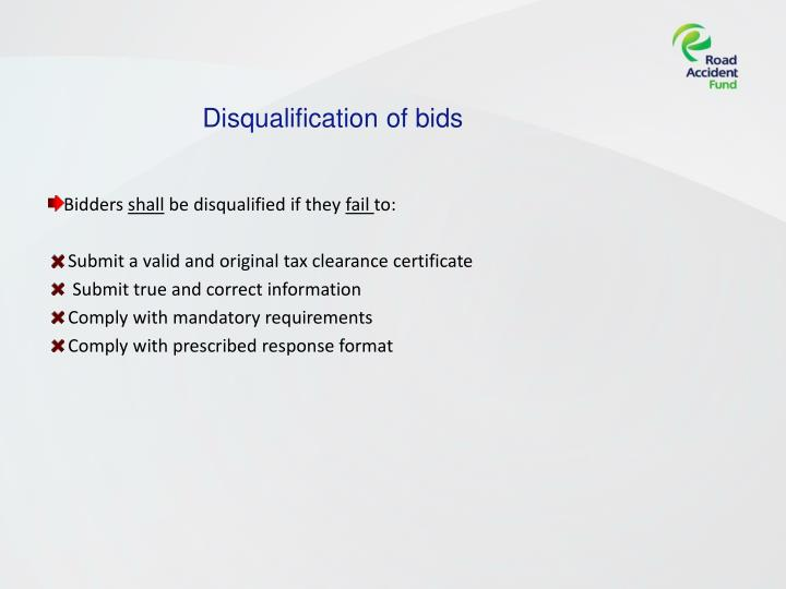 Disqualification of bids