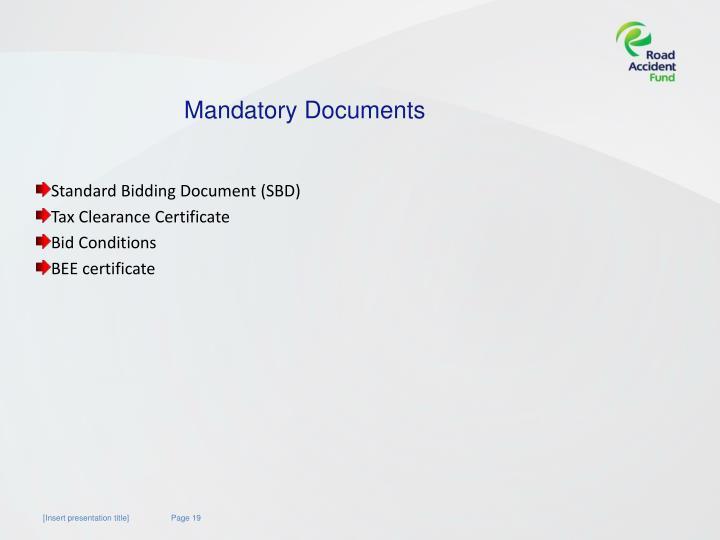 Mandatory Documents