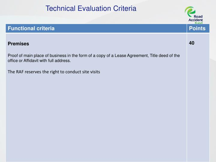 Technical Evaluation Criteria