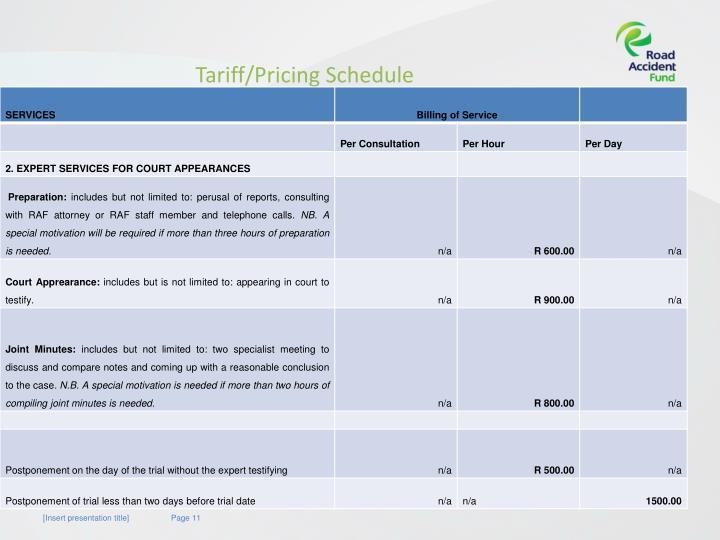 Tariff/Pricing Schedule