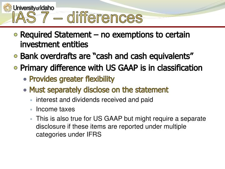 IAS 7 – differences