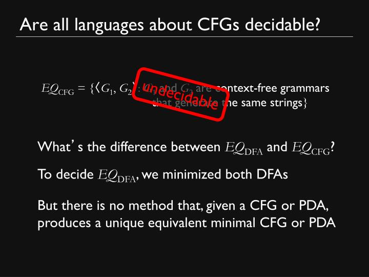 Are all languages about CFGs decidable?