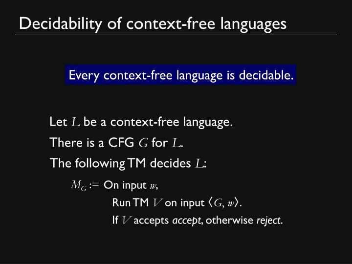 Decidability of context-free languages