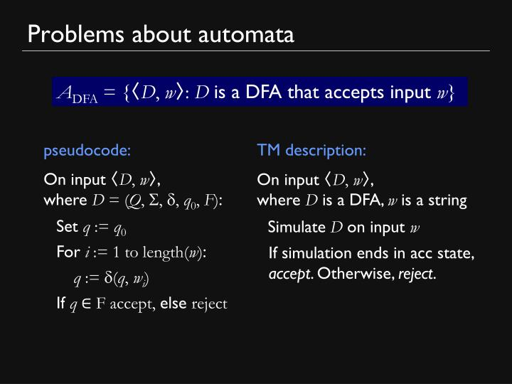 Problems about automata1