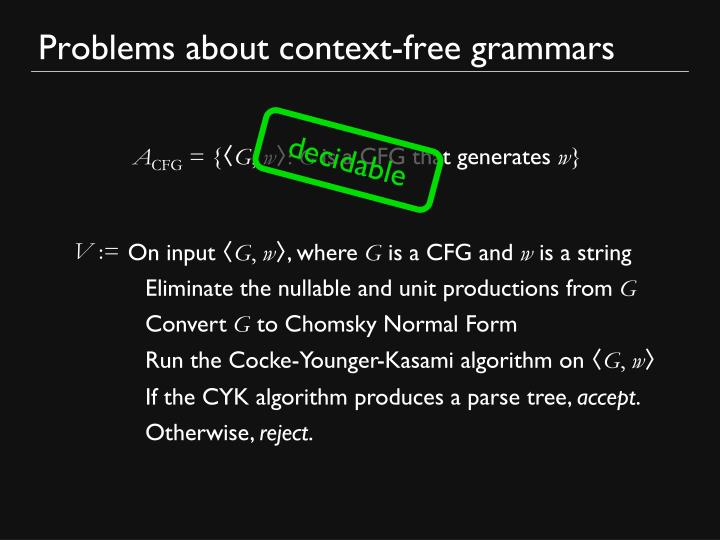 Problems about context-free grammars