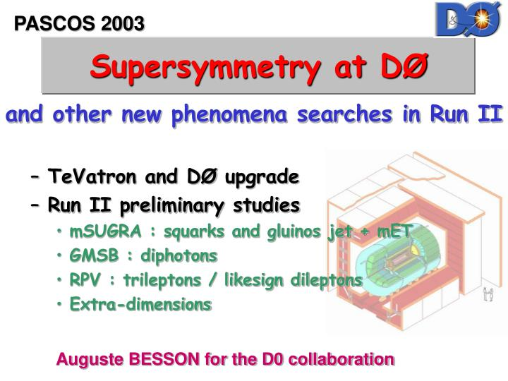 Supersymmetry at d