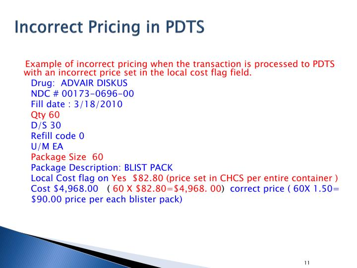 Incorrect Pricing in PDTS