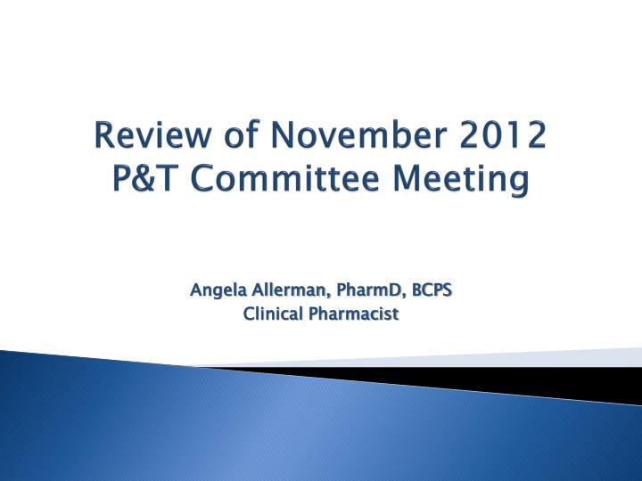 Review of November 2012