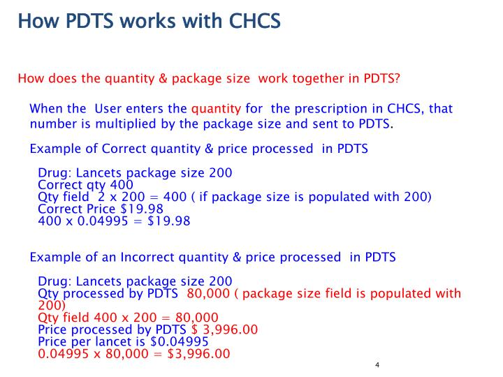 How PDTS works with CHCS