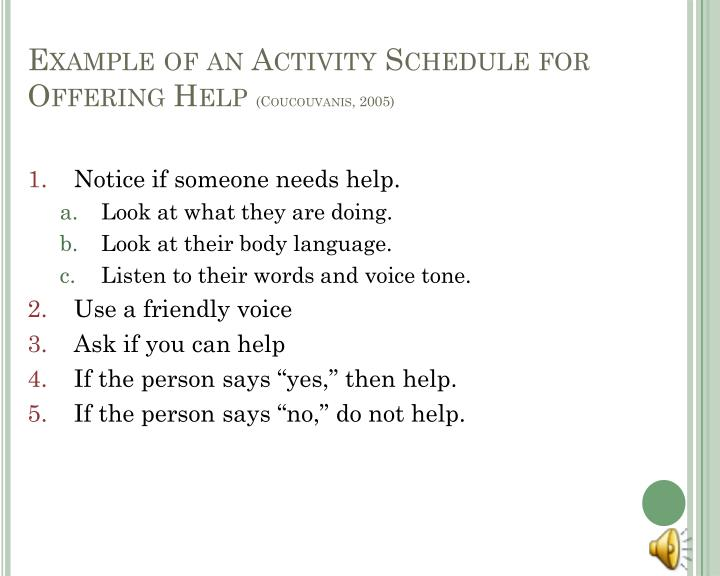 Example of an Activity Schedule for Offering Help