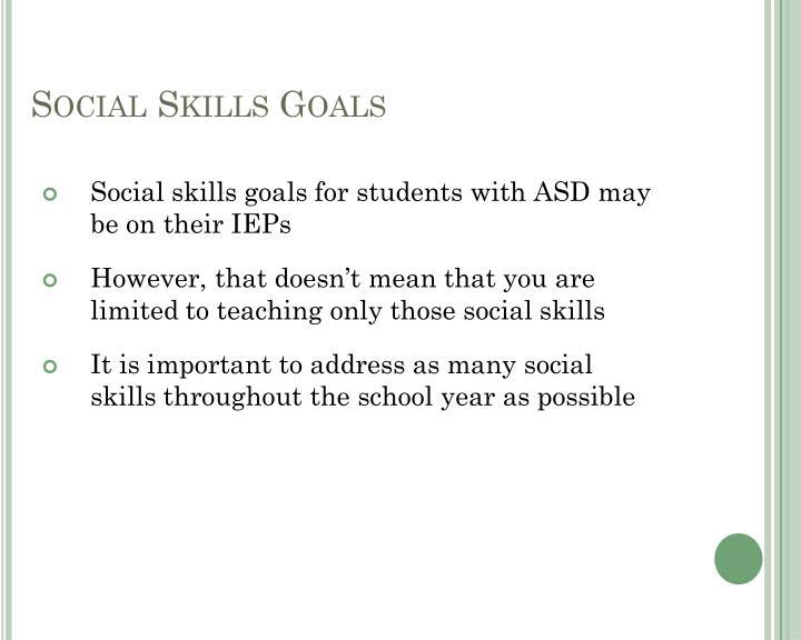 Social Skills Goals