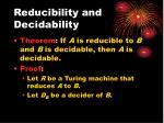 reducibility and decidability