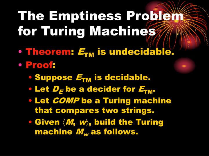 The Emptiness Problem for Turing Machines