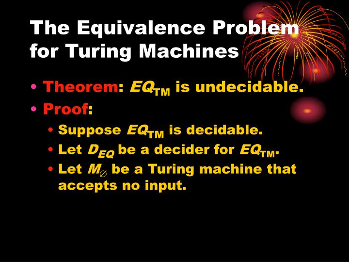The Equivalence Problem for Turing Machines