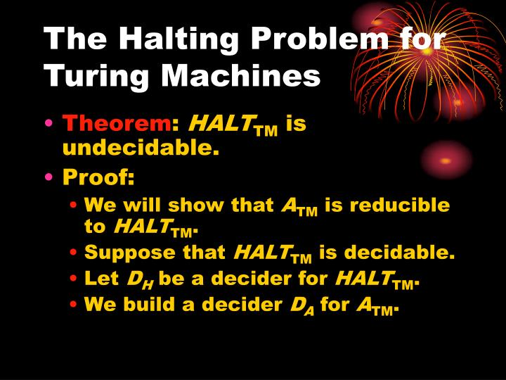 The Halting Problem for Turing Machines