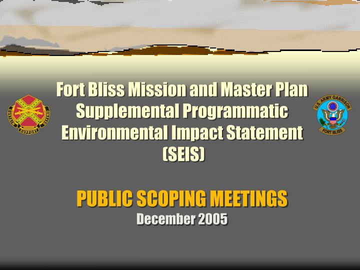 Fort Bliss Mission and Master Plan